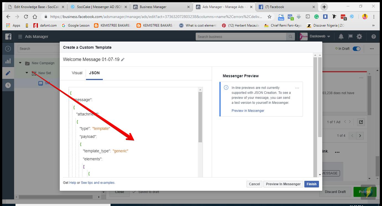 Messenger JSON Script – SociCake